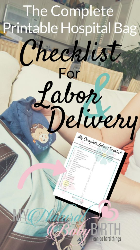 graphic regarding Printable Hospital Bag Checklist for Labor and Delivery identified as The Thorough Printable Healthcare facility Bag List For Labor And